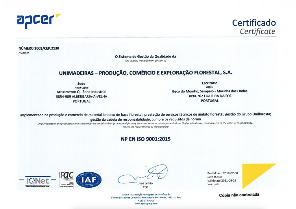 Certificado Sistema Gestão Qualidade