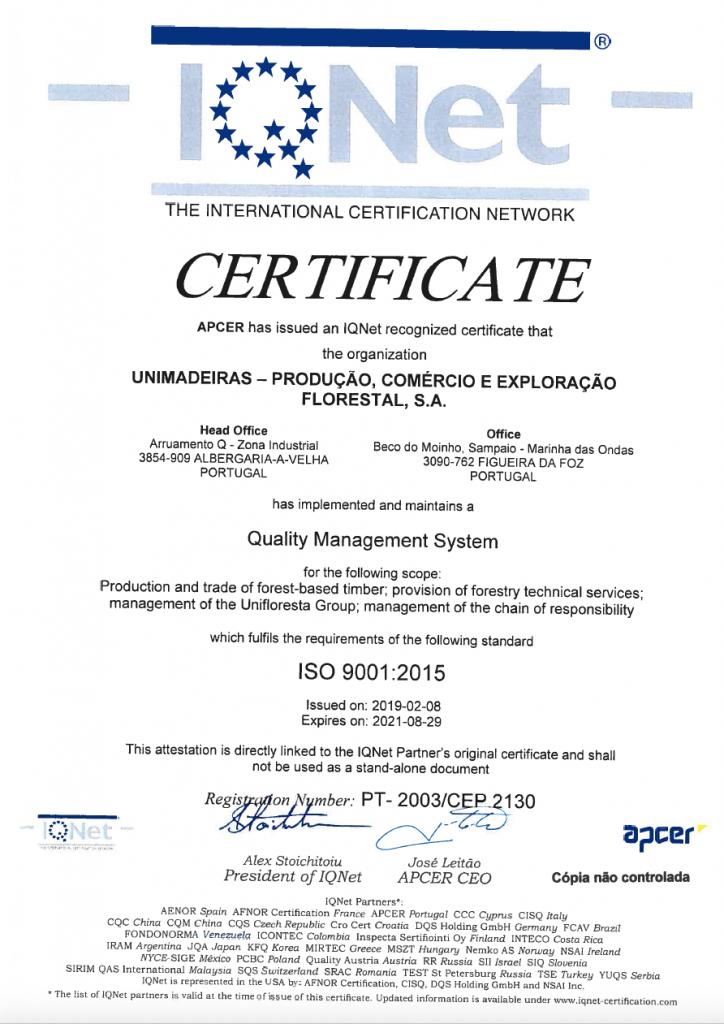 Certificado Sistema Gestão Qualidade_