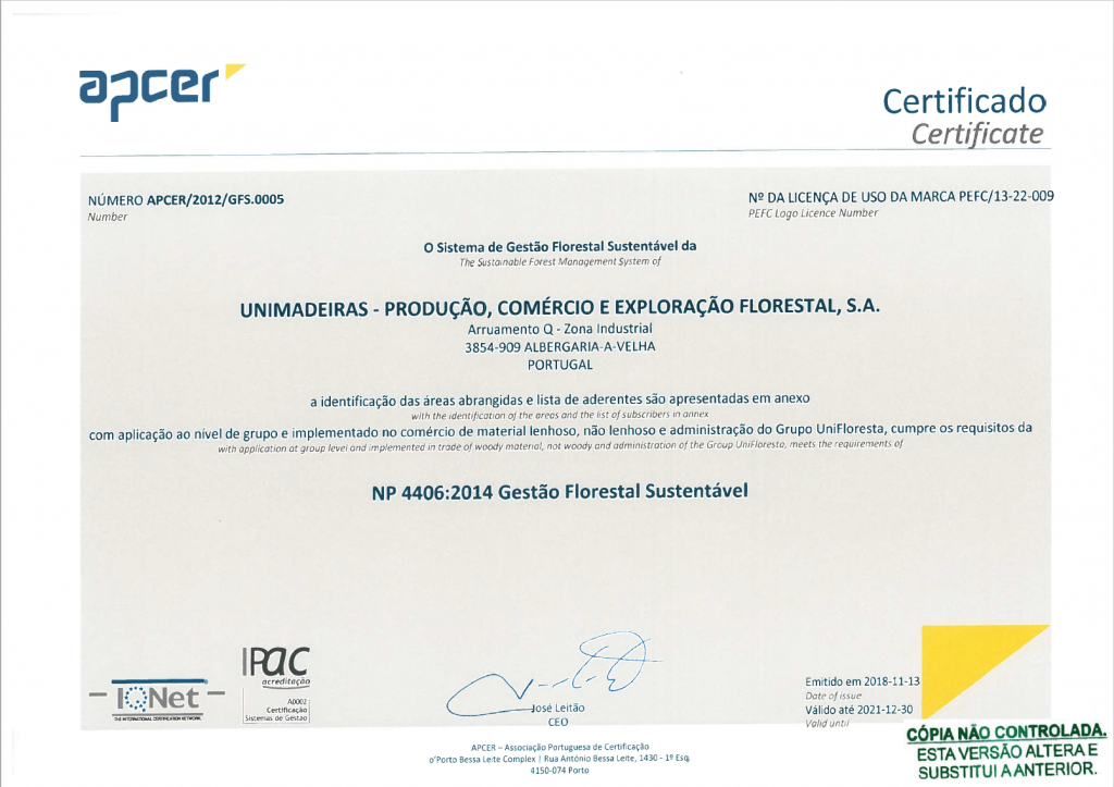 Certificado Unimadeiras PEFC 2018